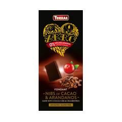 Czekolada gorzka z ziarnami kakao i żurawiną bez dodatku cukru 125 g Torras