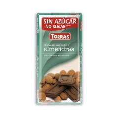 Czekolada mleczna z migdałami bez cukru 75 g Torras