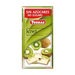 Czekolada biała z kiwi bez cukru 75 g Torras